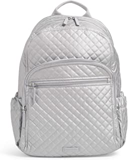 Vera Bradley Women's Signature Cotton Campus Backpack, Silver Pearl, One Size