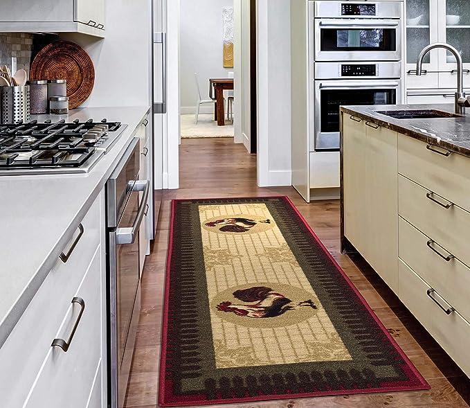 Amazon Com Ottomanson Stk3032 20x59 Siesta Runner Rug 20 X59 Beige Kitchen Rooster Furniture Decor