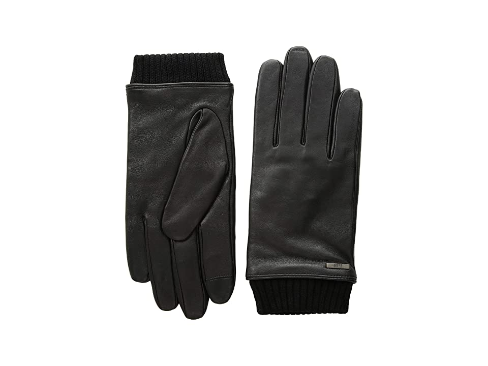 BOSS Hugo Boss Hewen Touch Tech Leather Gloves (Black) Over-Mits Gloves