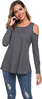 Women Long Sleeve Casual Cold Shoulder Tops Loose Tunic
