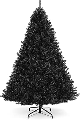 Amazon Com Best Choice Products 6ft Artificial Full Black Christmas Tree Seasonal Holiday Decoration For Home Office Party Decoration W 1 477 Pvc Branch Tips Metal Hinges Foldable Base Home Kitchen
