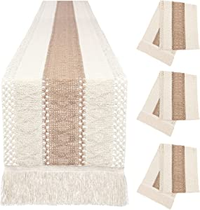 3 Packs Macrame Table Runners Sets, Farmhouse Style, Splicing Cotton and Burlap Table Runner with Tassels Boho Table Covers for Home Rustic Wedding Party Dining Table Decor(12 x 72 Inch)