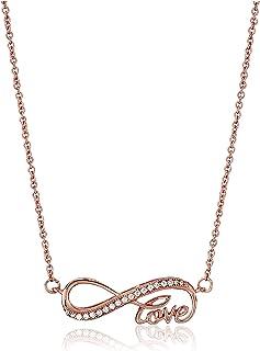 Amazon CollectionPlata de ley circonitas cúbicas collar con colgante infinity Love, 45,7cm