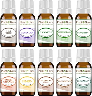 Essential Oil Set 10-10 ml. Therapeutic Grade 100% Pure Cedarwood, Eucalyptus, Frankincense, Lavender, Lemon, Lemongrass, Sweet Orange, Peppermint, Rosemary, Tea Tree For Skin, Body, Hair, Diffuser
