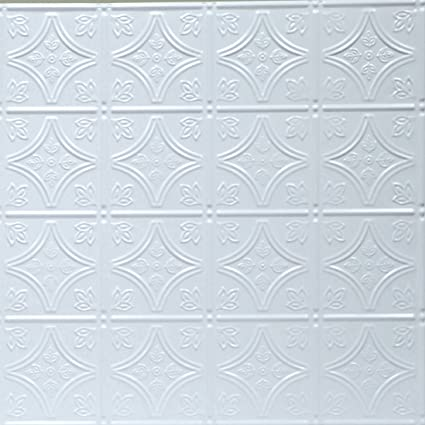 ft Shanko W309LIG Pattern 309 Pressed Metal Lay-in Grid Ceiling Tile 20 sq 5 Piece White
