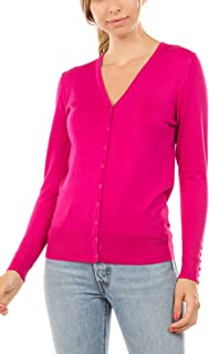 Women's Regular Solid Long Sleeve Cardigan with Decorative Buttons