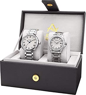 AS8240 His and Hers Watch Set - Two Matching Men's and Women's Watches - Stainless Steel Link Bracelet Bands, Gift Box