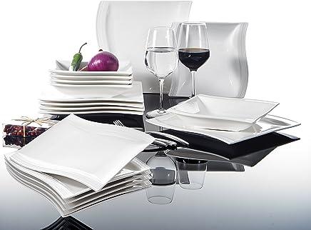Preisvergleich für MALACASA, Serie Flora, Cremeweiß Porzellan Tafelservice 18 teilig Set Kombiservice Geschirrset mit je 6 Speiseteller, 6 Suppenteller und 6 Dessertteller für 6 Personen