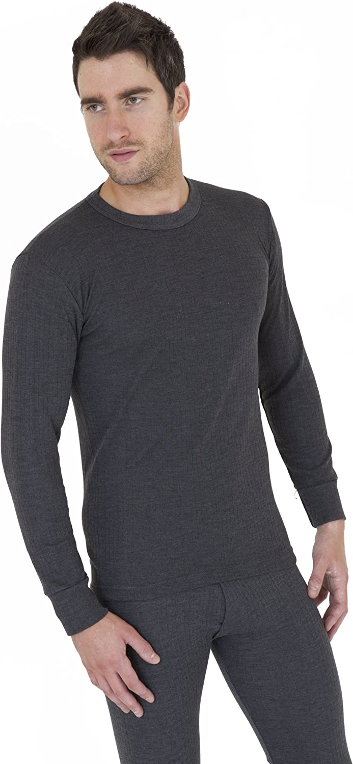 Mens Thermal Underwear Long Sleeve T Shirt Top (British Made) (Chest: 44-46inch (X-Large)) (Charcoal)