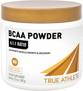 True Athlete BCAA 4:1:1 4gm LLeucine, 1gm LIsoleucine 1gm LValine per Serving Supports Muscle Growth Recovery, 30 Servings NSF Certified for Sport (6.35 Ounces Powder)