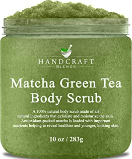 Handcraft Matcha Green Tea Body Scrub - All Natural - Deep Cleansing Gently Exfoliates and Purifies Skin - 10 oz