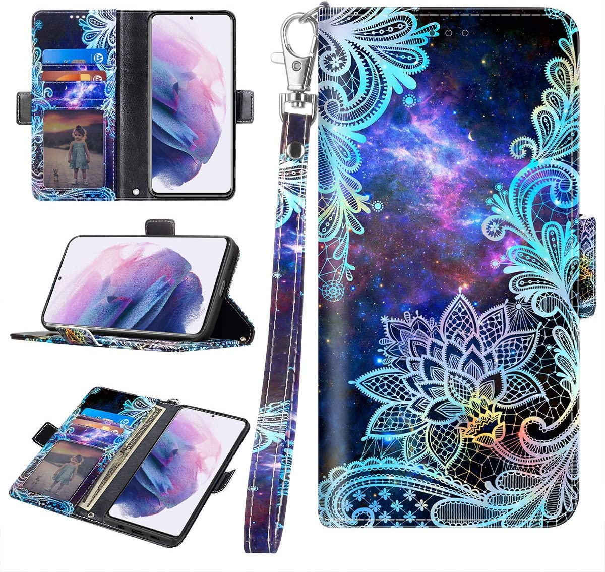 Wrist Strap for Samsung Galaxy S21 5G 6.2 inch,Mandala Casetego for Galaxy S21 5G Case,Detachable Magnetic Wallet Case PU Leather Full Body Protective Case with Credit Card Holders