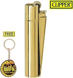 HIBRON Clipper 1 Encendedor Mechero Clásico Largo Metal Gold Oro Dorado Brillante Pulido Y 1 Llavero Gratis