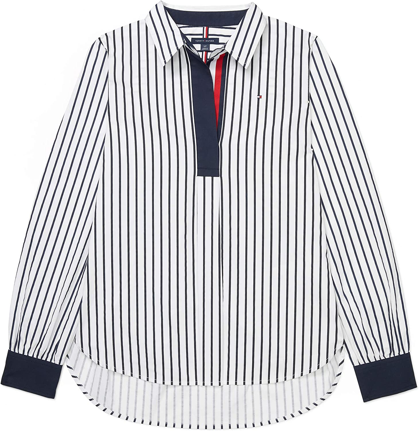 Tommy Mail order Hilfiger Women's Super-cheap Adaptive Popover with Shirt Neck Wide Ope