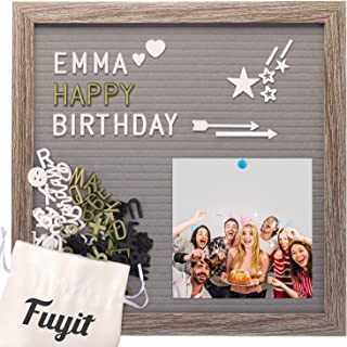 Felt Letter Board Message Sign 12x12, Gray EVA Letterboard for Photo Display, 600 Changeable Characters Announcement Board with Stand & Wall Hook, Original Wood Frame & Storage Bag