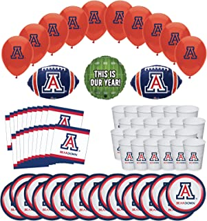 Mayflower Products University of Arizona Wildcats Football Tailgating Party Supplies for 20 Guest and Balloon Bouquet Decorations