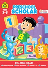 School Zone - Preschool Scholar Workbook - 32 Pages, Ages 3 to 5, Beginning Sounds, Letter Recognition, Tracing, Printing, Counting 1-10, and More