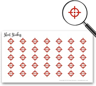 Target Aim Location Crosshair, Sticker Sheet 88 Bullet Stickers for Journal Planner Scrapbooks Bujo and Crafts, Item 506167