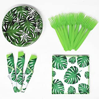 Palm Leaf Value Party Supplies Pack (58+ Pieces for 16 Guests), Value Party Kit, Palm Leaf Party Plates, Palm Leaf Birthda...