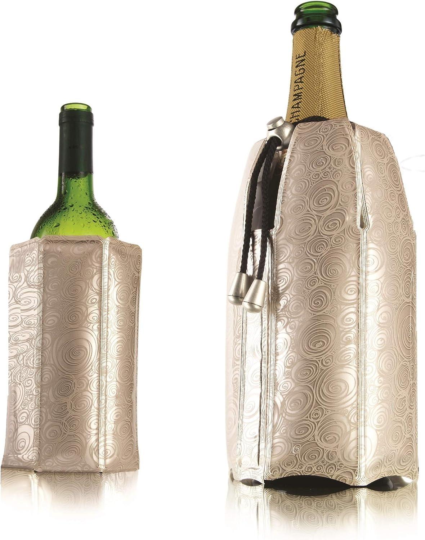 Vacu Vin 3887560 Enfriador Rápido para Botellas De Vino Y Cava, Plateado