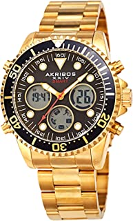 Akribos XXIV Mens Quartz Watch, Analog-Digital Display and Solid Stainless Steel Strap AK1094YGBK