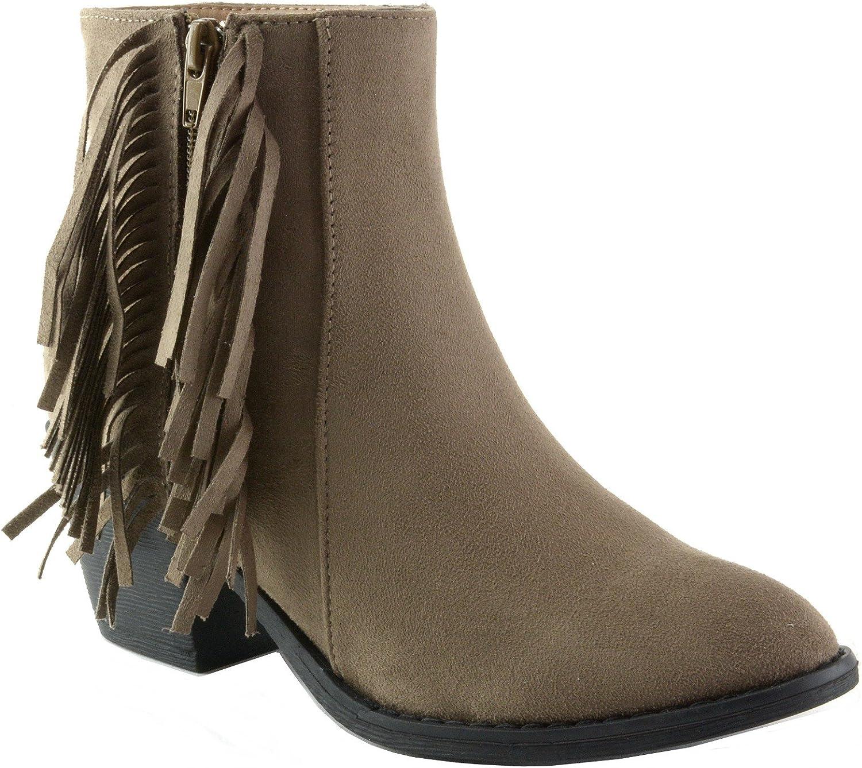 Alpine Swiss Apink Micro Suede Women's Fringe Boots Block Heel Zip Up