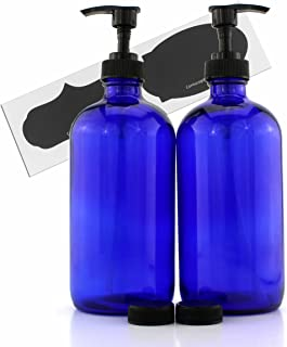 Cornucopia Brands 16-Ounce Cobalt Blue Glass Bottles w/Lotion Pump Dispensers (2-Pack); Refillable Liquid Soap Pump Bottles + Chalk Labels & Lids, BPA-Free Plastic Tops