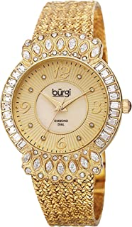 Burgi Women's Luxury Analogue Display Quartz Watch with Metal Bracelet