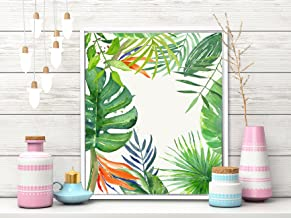 Painting Mantra - Tropical Green Framed Canvas Art Print - 11 inch X 13 inch