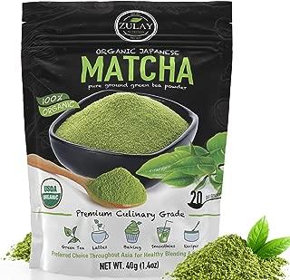 Zulay Organic Matcha Green Tea Powder - USDA Certified, Authentic Japanese Culinary Grade Matcha Tea Powder Used for Lattes, Smoothies & Baking - Vegan, GMO Free Matcha Powder (40g starter size)