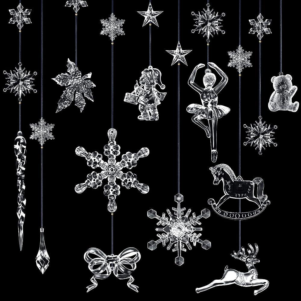 Set di decorazioni natalizie in cristallo acrilico,18 ornamenti stereoscopici Yaomiao
