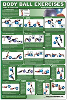 Laminated Fitness Ball Poster - Upper & Lower Body Exercises - Created by University Accredited Fitness