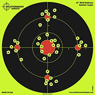 Splatterburst Targets - 12 inch Multi-Bullseye Reactive Shooting Target - Shots Burst Bright Fluorescent Yellow Upon Impact - Gun - Rifle - Pistol - Airsoft - BB Gun - Pellet Gun - Air Rifle