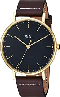 Vestal 'Sophisticate' Swiss Quartz Stainless Steel and Leather Dress Watch, Color:Brown (Model: SP42L05.DBWH)