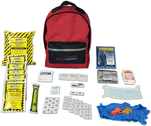 Ready America 70180 72 Hour Emergency Kit, 1-Person, 3-Day Backpack, Includes First Aid Kit, Survival Blanket, Portable Preparedness Go-Bag for Camping, Car, Earthquake, Travel, Hiking, and Hunting, Red