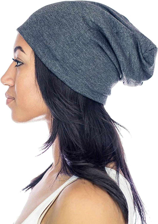 Grace Eleyae GE Women's Satin Lined Sleep Cap Slap Silky Beanie Soft Smooth & Stylish Hair Care Hat, Gray