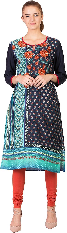 SABHYATA Women's Kurta Ethnic Long Dress Pure Cotton Kurti Tops for Women Ladies Partywear