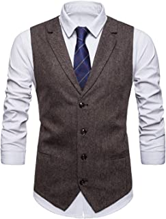 Mens Casual Dress Vests 4 Button Tailored Collar Tweed Suit Waistcoat