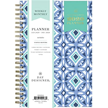 """Day Designer for Blue Sky 2020 Weekly & Monthly Planner, Flexible Cover, Twin-Wire Binding, 5"""" x 8"""", Frosted Tile"""