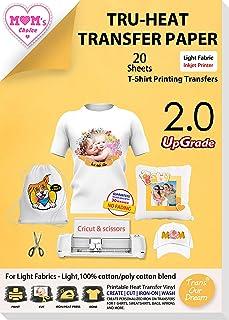 TransOurDream Real - Papel de Transferencia Térmica Para Camisetas Blancas y Tejidos Claros(A4x20 Hojas)Fácil de Usar, Sin impresión de Espejo,Compatible con Impresoras de Inyección de Tinta, ES-2-20