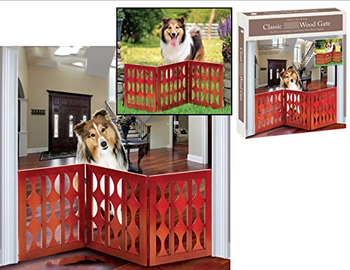 lowest Indoor/Outdoor Classic Style Solid online sale Wood 3 Section high quality Pet Gate sale
