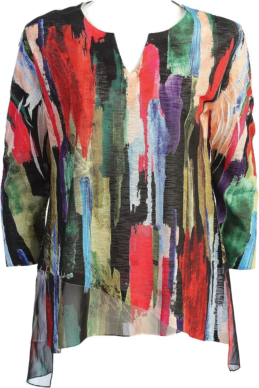 Jess & Jane Women's Cascade Slit V-Neck Chiffon Contrast Tunic