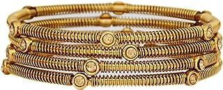مجموعة أساور هندية مكونة من 4 أساور للنساء الهندية مجوهرات سوار للبنات لون ذهبي فضي