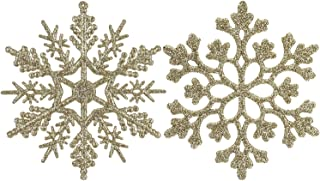 Sea Team Plastic Christmas Glitter Snowflake Ornaments Christmas Tree Decorations, 4-inch, Set of 36, Gold