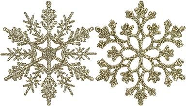 Sea Team Plastic Christmas Glitter Snowflake Ornaments Christmas Tree Decorations, 4-inch, Set of 36, Gold