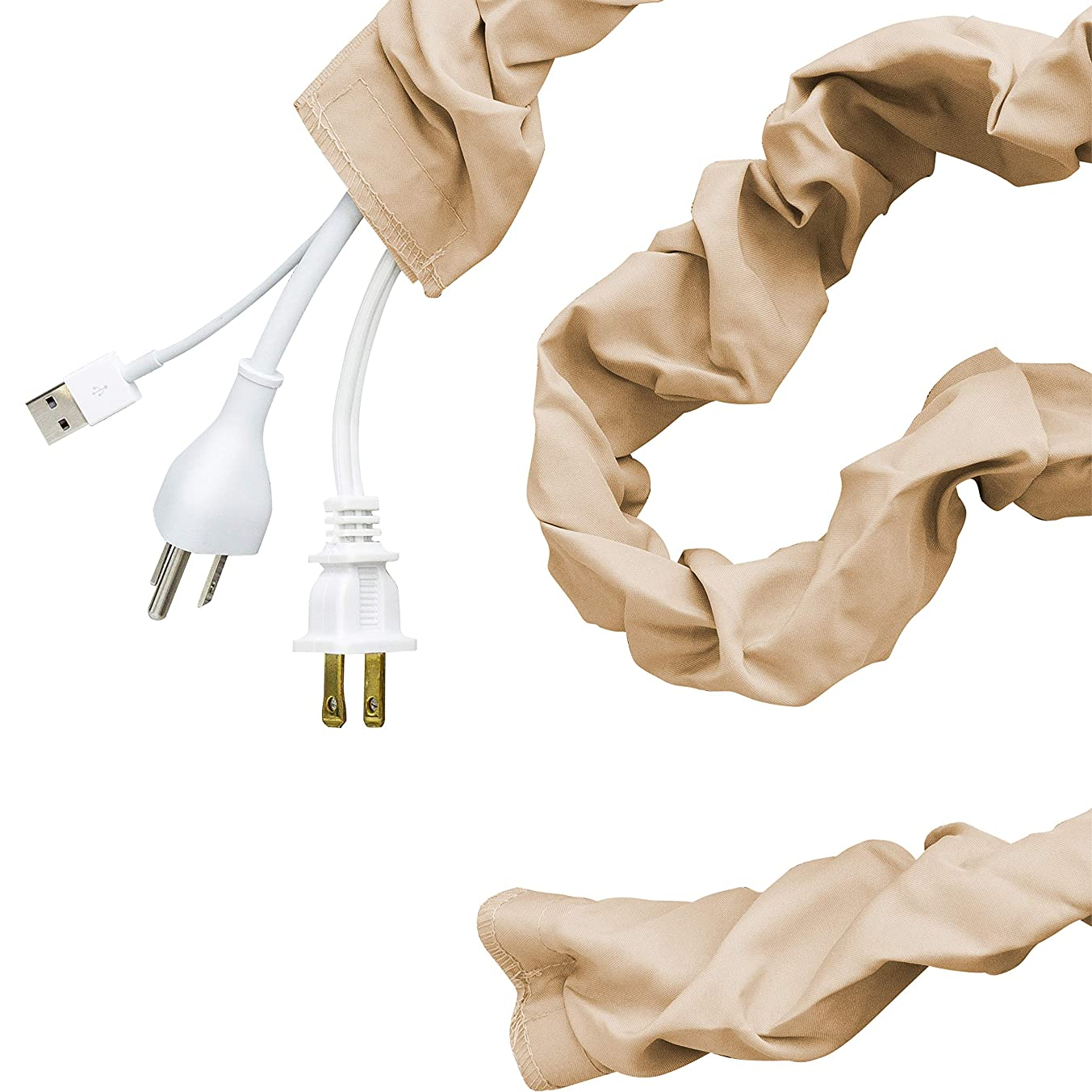 Cordinate Fabric Cord Cover, 6 ft, Hides Cables, Great for Lamps, Light Fixtures, and Desks, Cable Management, Easy Installation, Champagne, 40730
