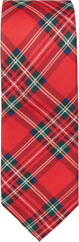 Jacob Alexander Red Christmas Plaid Boys' Pre Regular Neck Tie