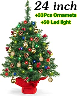 24 Inch Tabletop Xmas Tree, Artificial Mini Christmas Tree with 18 Golden Ball Ornaments,5 Pine Cone,30 Berries Ornaments,50 LED String Light for Christmas Holiday Party Xmas Decor