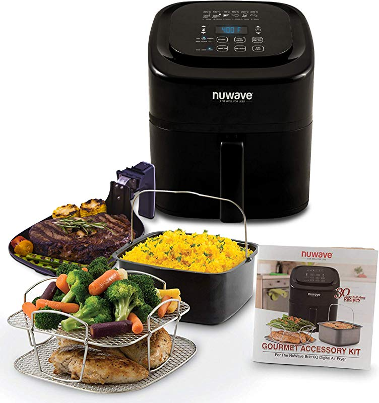 NUWAVE BRIO 6 Quart Digital Air Fryer Cooking Package With One Touch Digital Controls 6 Easy Presets Precise Temperature Control Recipe Book Basket Divider Wattage Control And Advanced Functions Like PREHEAT REHEAT And More Also Includes Grill Pan Non Stick Baking Pan And Stainless Steel Cooking Rack 6 Quart Ultimate Kit