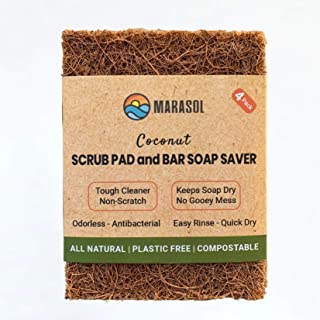 Marasol Scrub Pad and Soap Saver - 4 Pack | All Natural, Coconut Fiber | Plastic Free, Biodegradable, Compostable | Tough ...